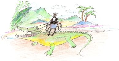 Hand drawn picture of Anansi and the crocodile