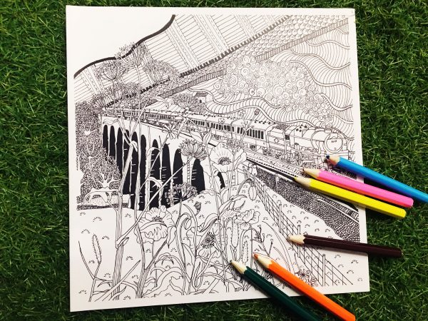 Photo of Settle railway colouring cards with coloured pencils